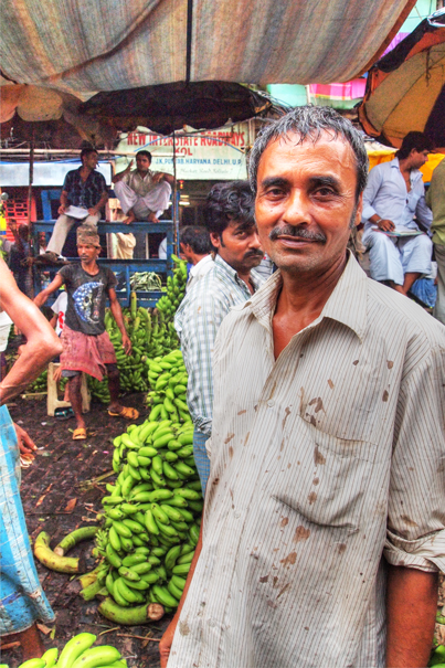 Man in banana auction market