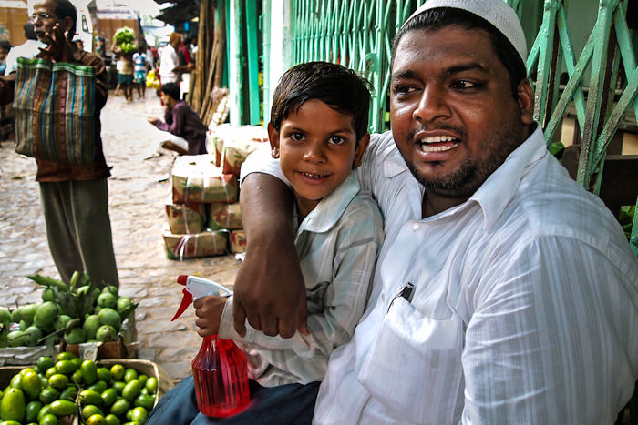 Street vendor and his son