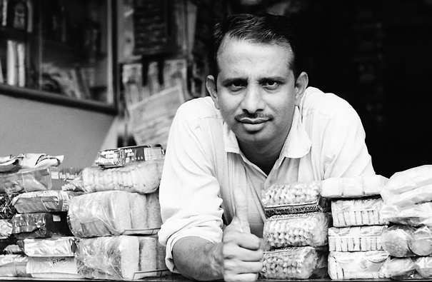 Man selling biscuits