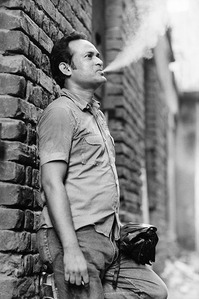 Man puffing smoke