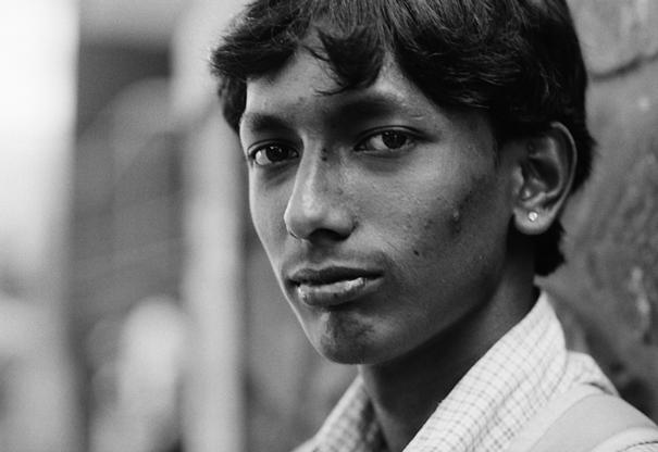 Piercing gaze of young man