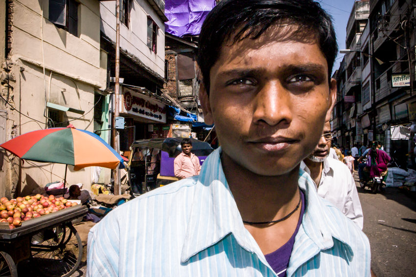 Young man shopping in market