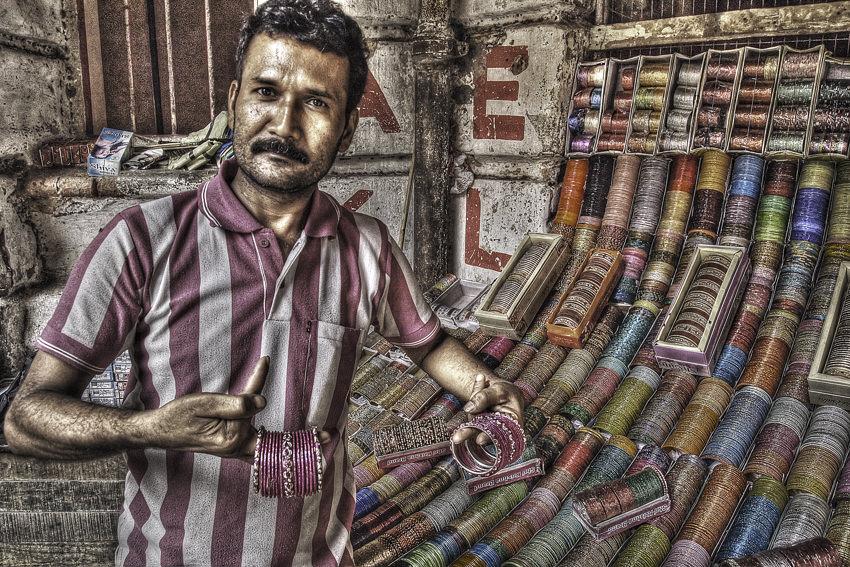 Man selling bracelets