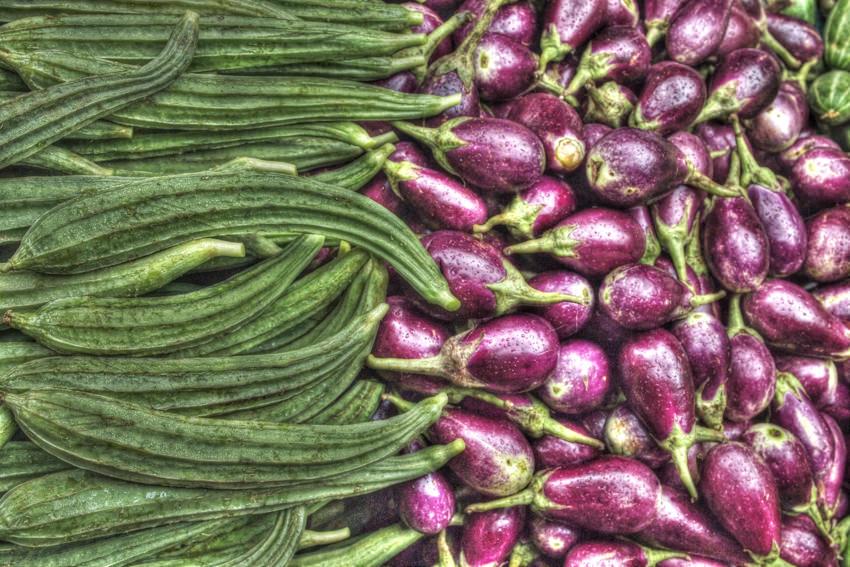 Okra and eggplant