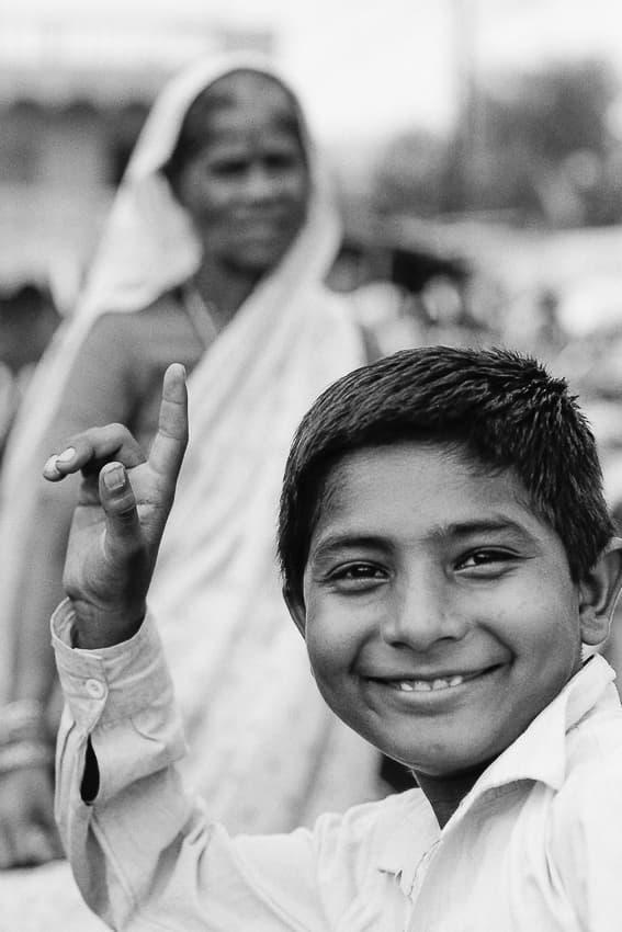 Boy posing cheerfully