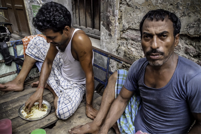 Two men having lunch