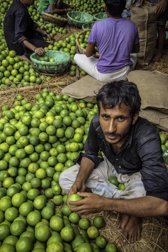 Man in heap of oranges