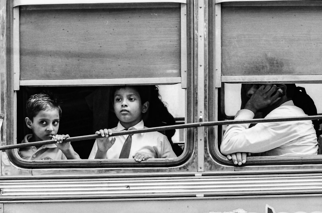 Two boys on bus