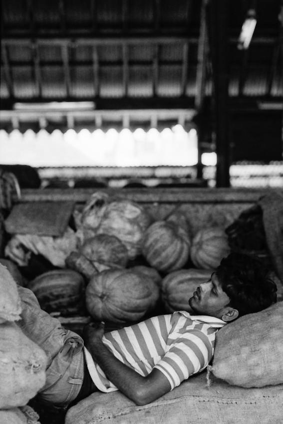 Man sleeping on sacks