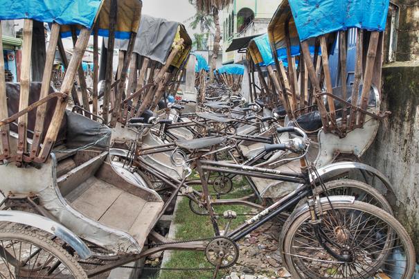 Parking Lot Of Cycle Rickshaw @ India
