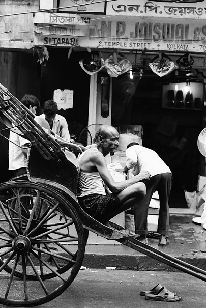 Rickshaw in busy street