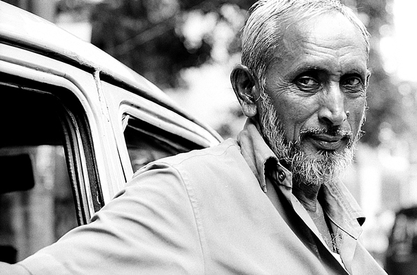 Taxi Driver With Gray Hair And White Beard @ India