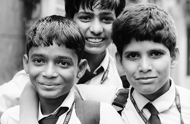 Three School Boys Wearing A Tie (India)