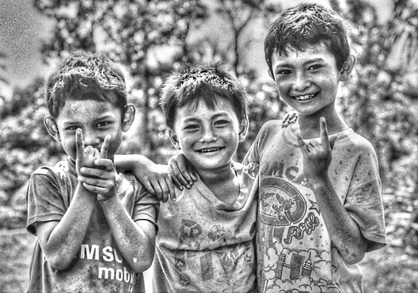 Three Enjoyable Boys And Signs (Indonesia)