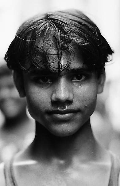 Young man drenched in sweat