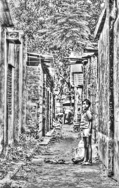 Boy standing in lane