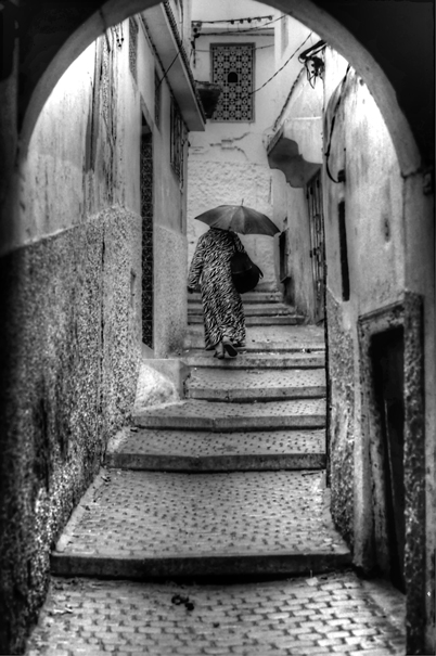 Woman walking lane