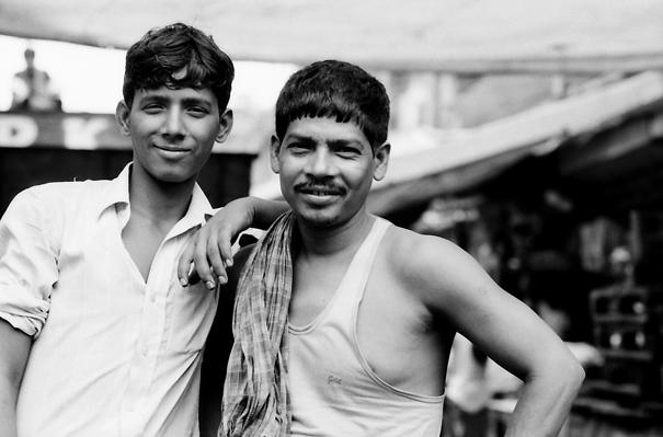 Men working in fruit market