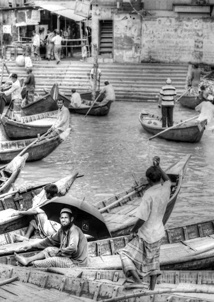 Umbrella on wooden boat