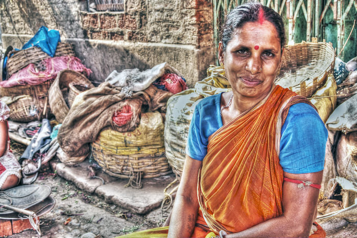 Woman With Sindoor And Bindi In The Market (India)