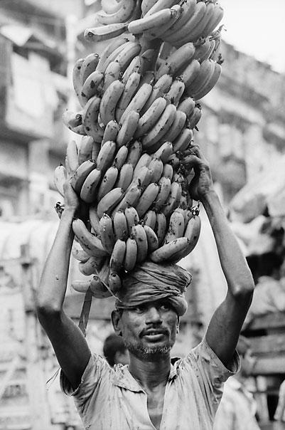 Big bunch of banana on head