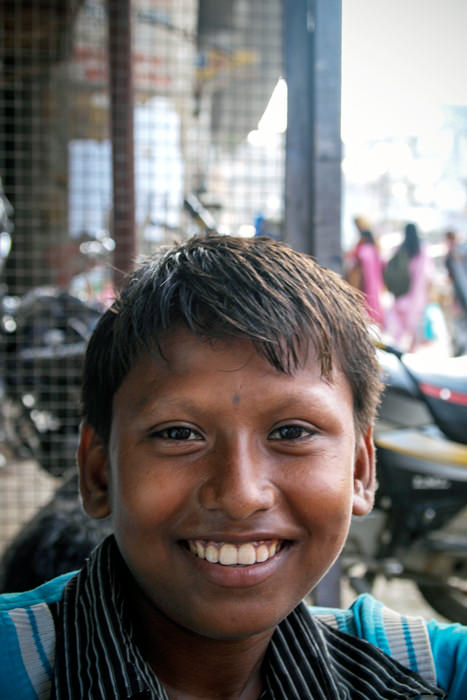 Boy Showed His White Teeth (India)