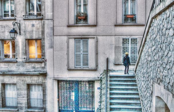 Girl on stairway