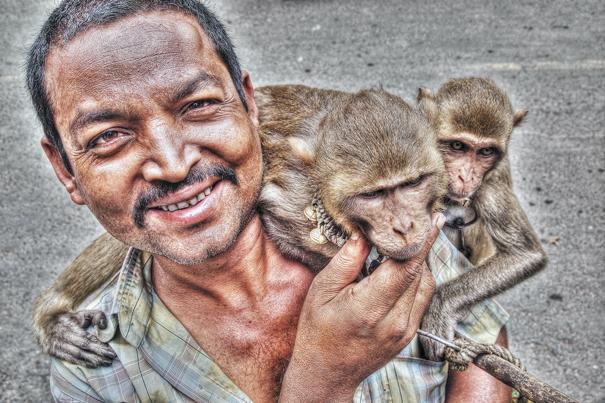 Man Putting Monkeys On His Shoulder (India)