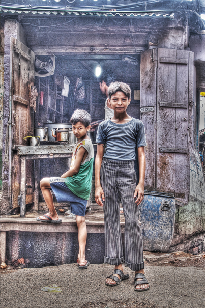 Two Boys In Front Of A Restaurant (India)