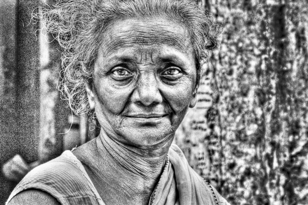 Moon Face Of An Older Woman (India)