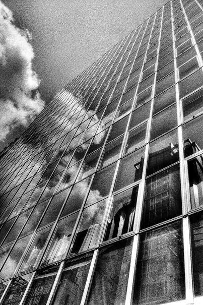 Glass-walled building