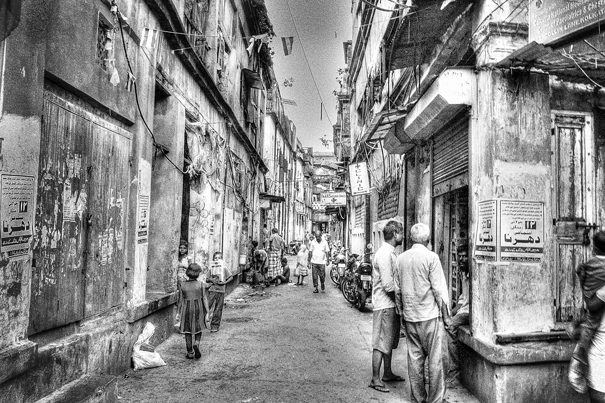 Tranquil Street Between Buildings (India)