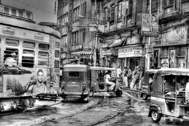 Tram and auto rickshaws