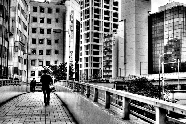 Businessman On The Pedestrian Bridge @ Tokyo
