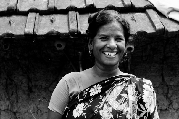 Laughing Woman With A Floral Saree (India)