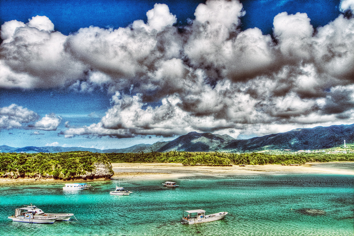 Boats And Clouds In Kabira Bay (Okinawa)