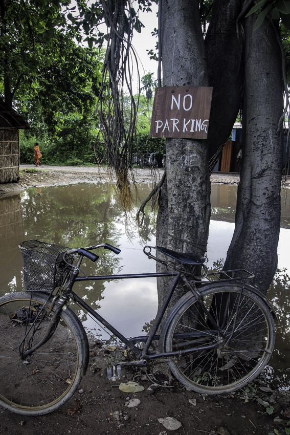 Bicycle under No Parking Sign
