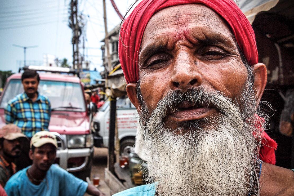 Man wearing red bandana