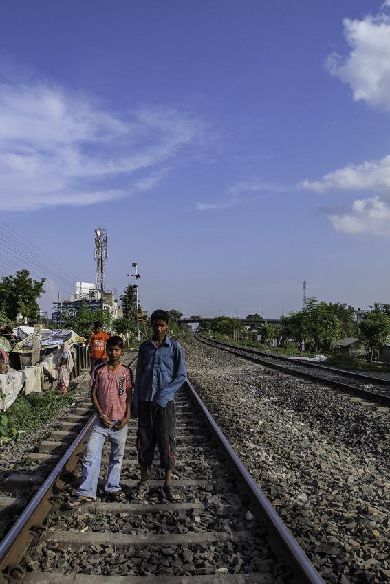 Two boys on railway track