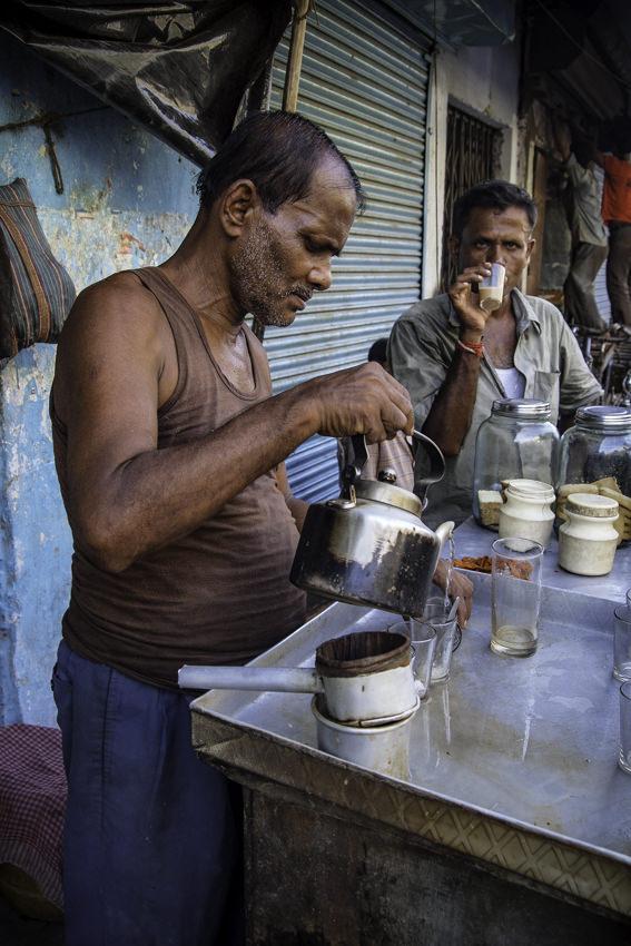 Man pouring Chai