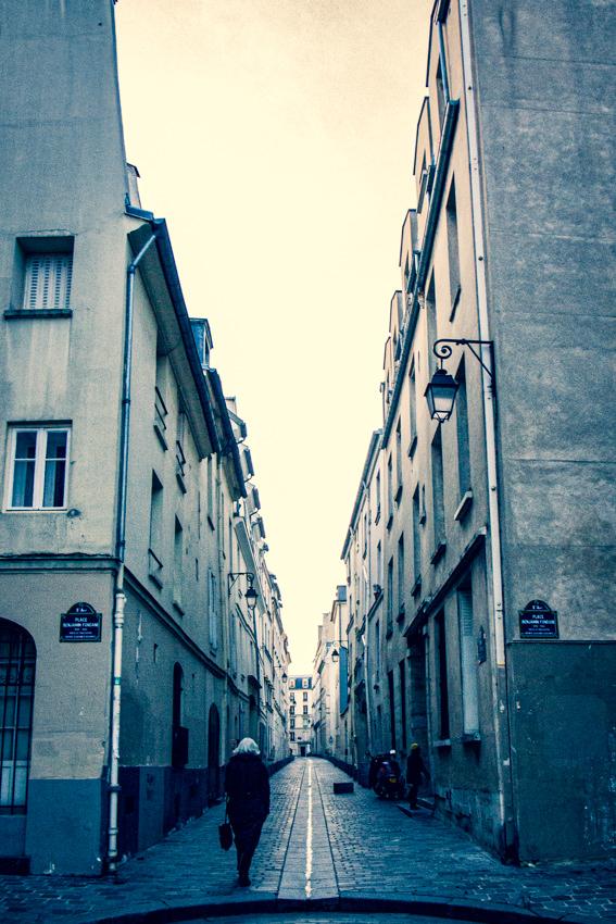Cobblestone lane between buildings