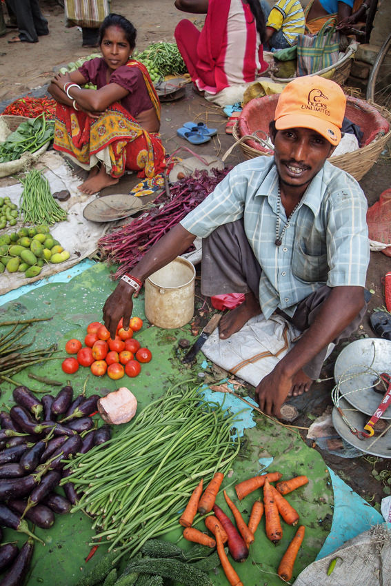 Man selling vegetables