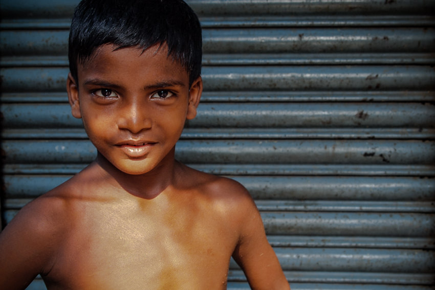 Boy striking pose