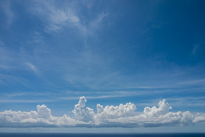 Clouds and sea horizon
