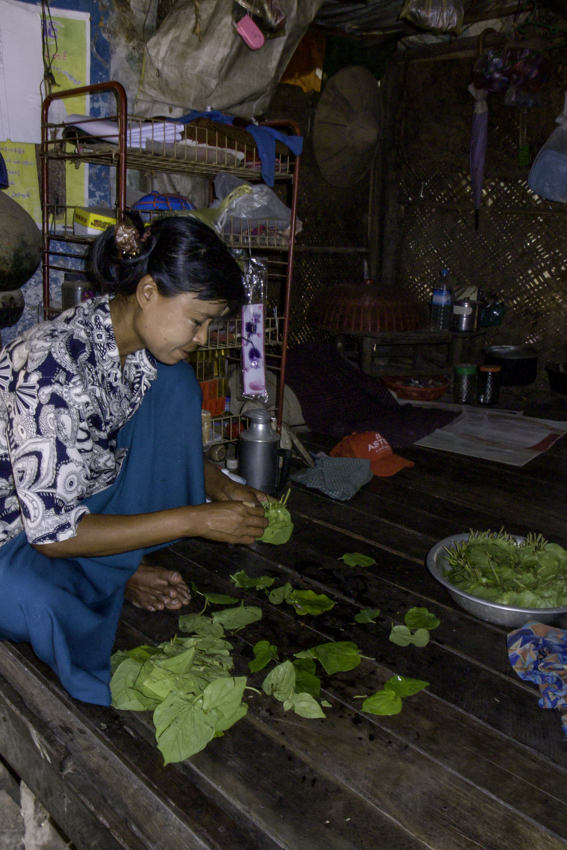 Woman setting out betel leaves