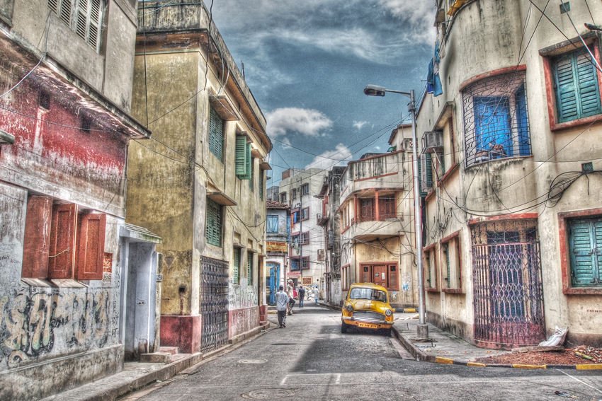 Yellow Taxi In The Street (India)