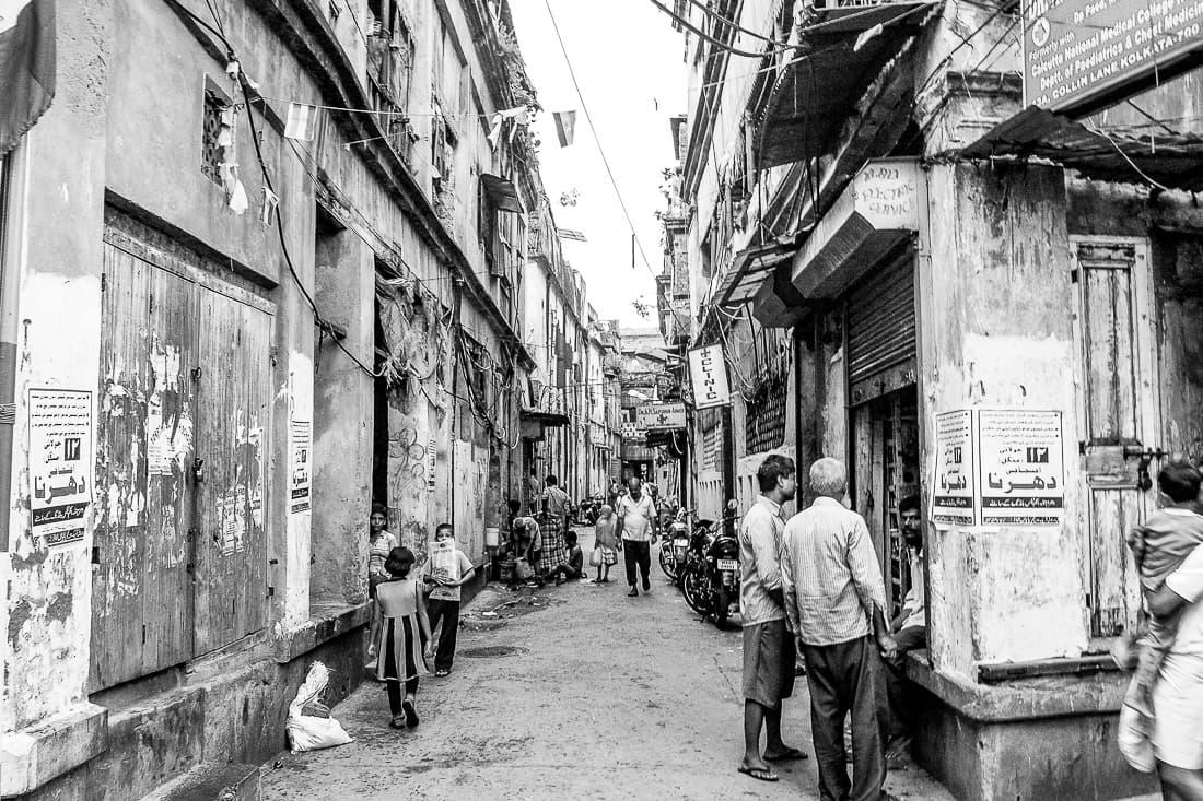 コルカタの長閑な路地