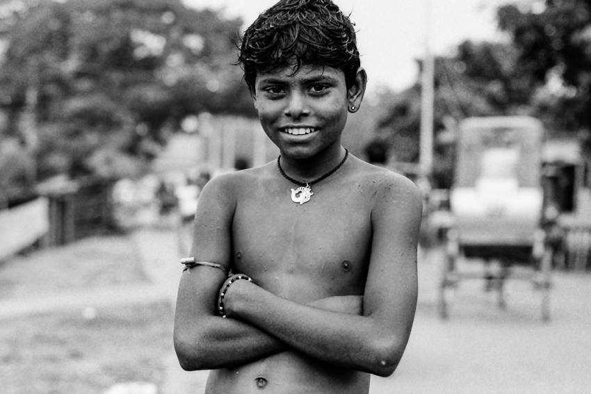 Boy crossing arms