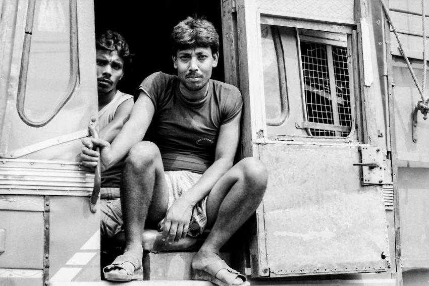 Two men on truck