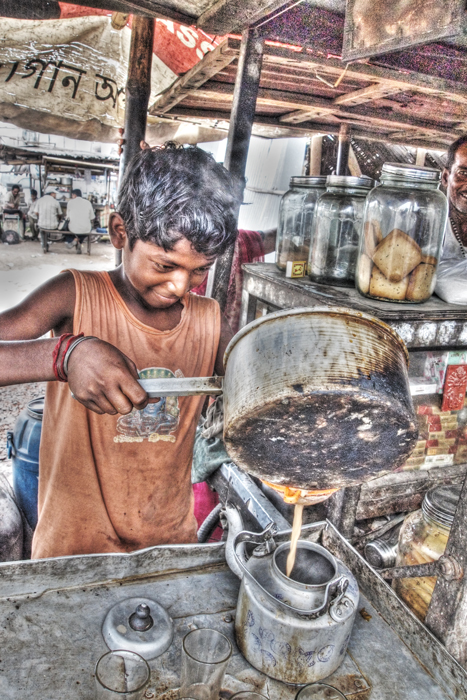 Boy Tapping Tea (India)